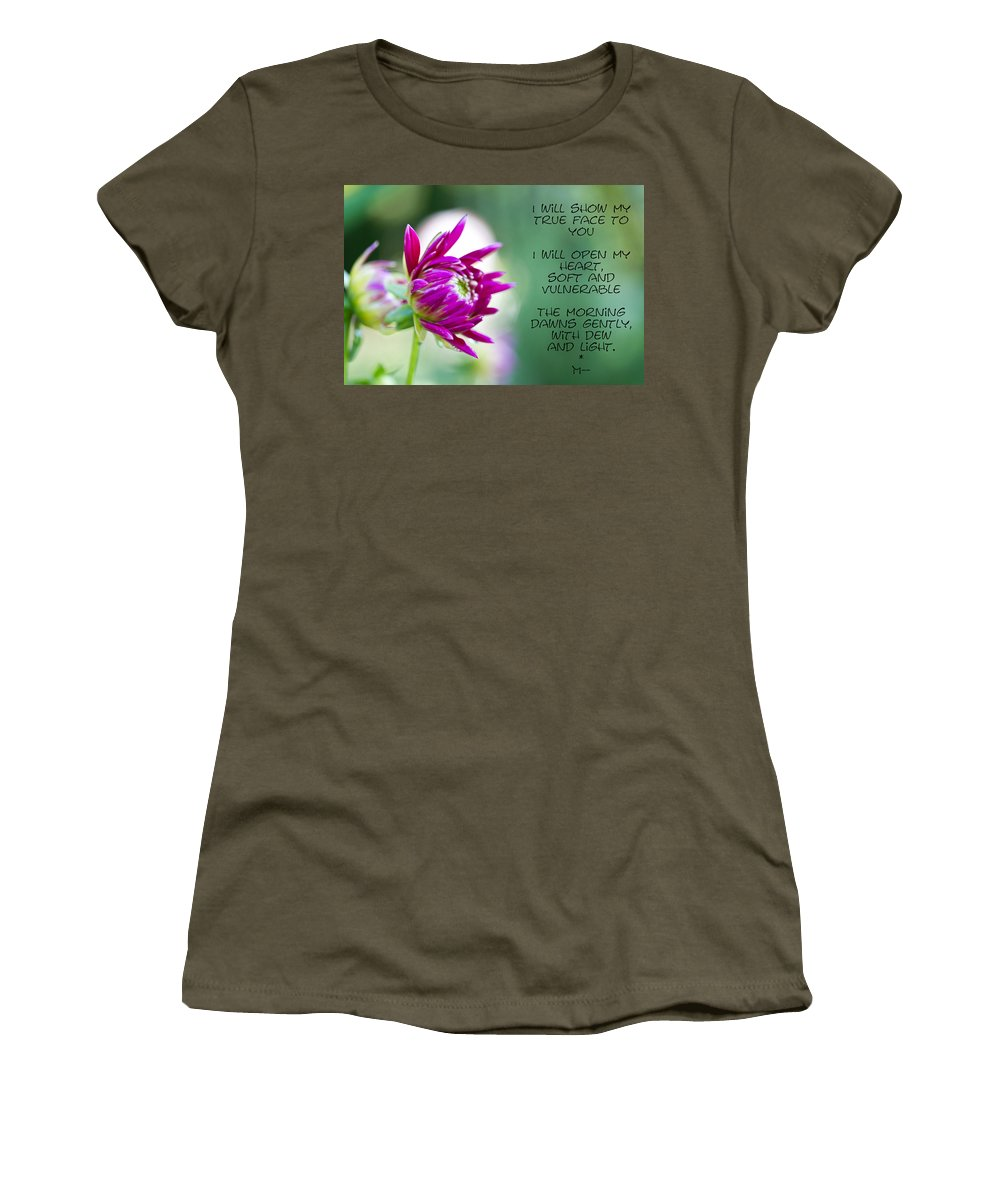 Poem Women's T-Shirt (Athletic Fit) featuring the photograph True Face - Poem - Flower by Marie Jamieson