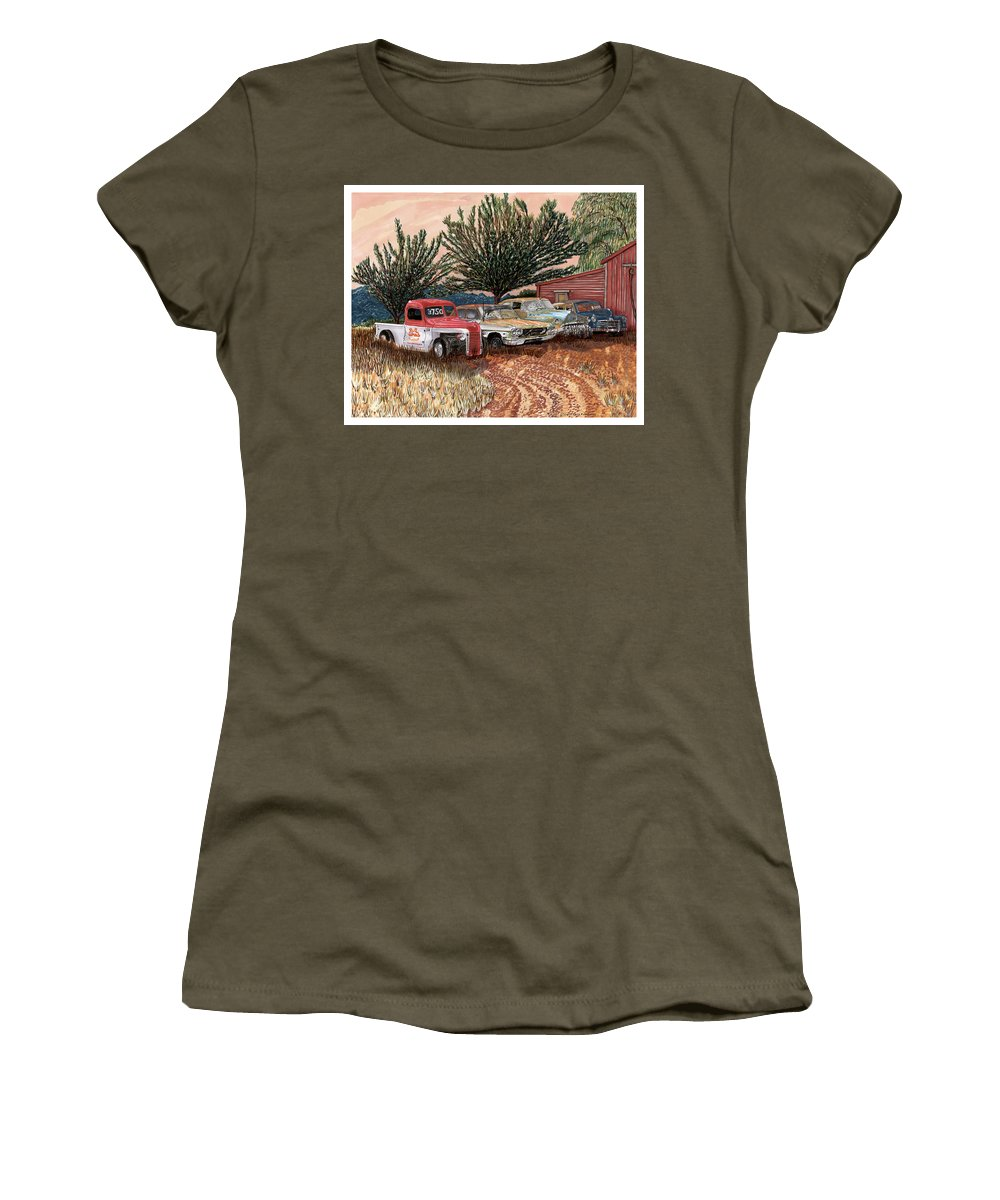 Classic Car Art Women's T-Shirt featuring the painting Tularosa Motors by Jack Pumphrey
