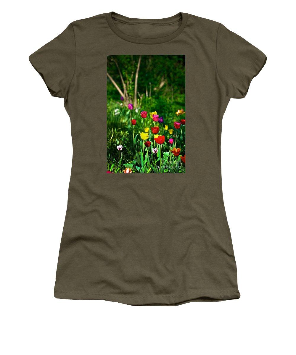 Ranibow Women's T-Shirt featuring the photograph Tulip Rainbow by Frank J Casella