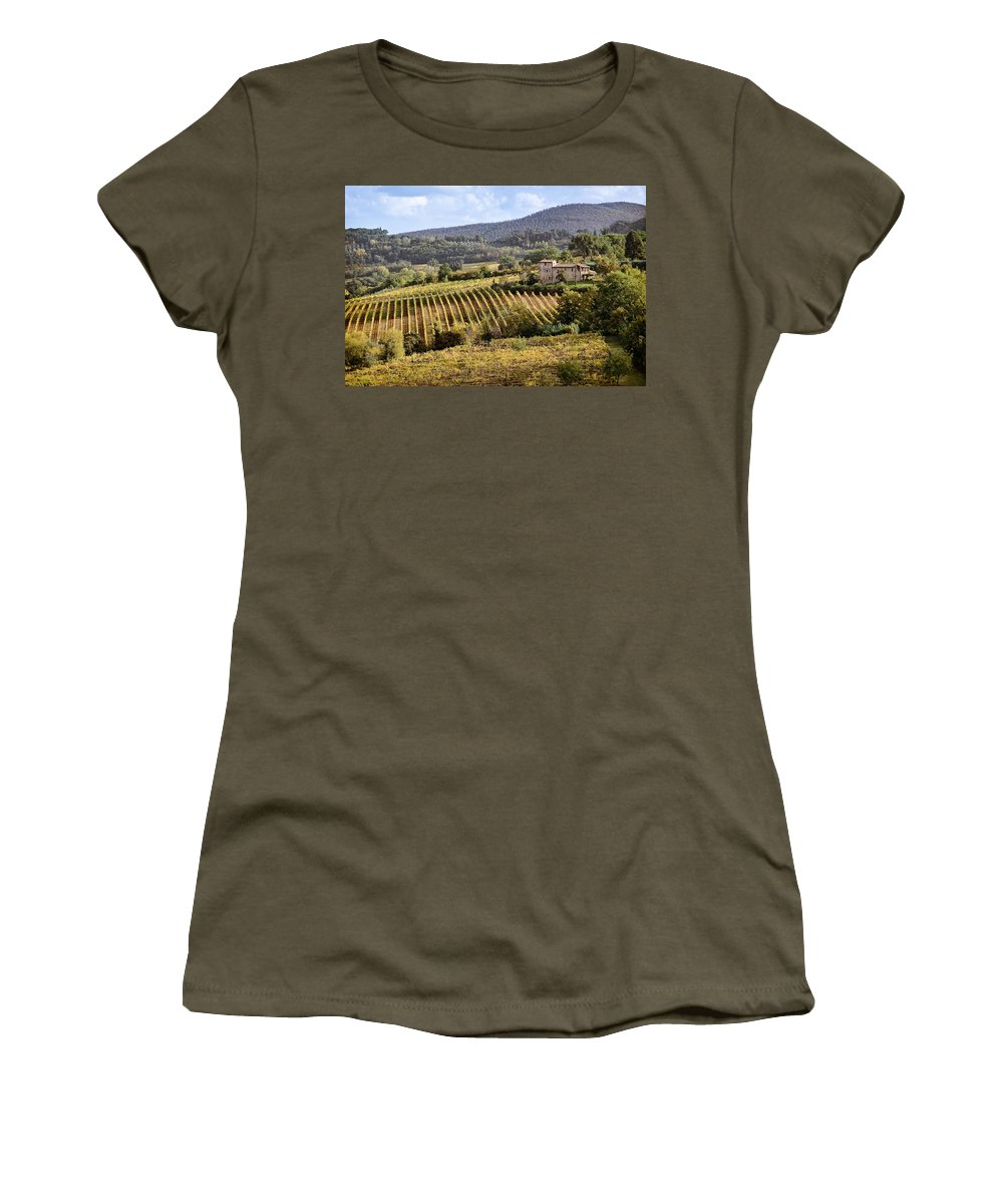 Tuscany Women's T-Shirt (Athletic Fit) featuring the photograph Tuscan Valley by Dave Bowman