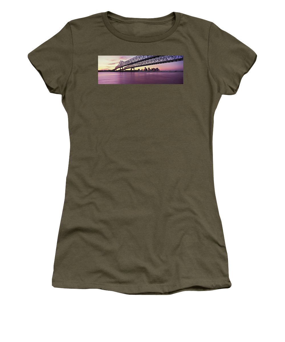 Photography Women's T-Shirt featuring the photograph Twins Bridge Over A River, Crescent by Panoramic Images
