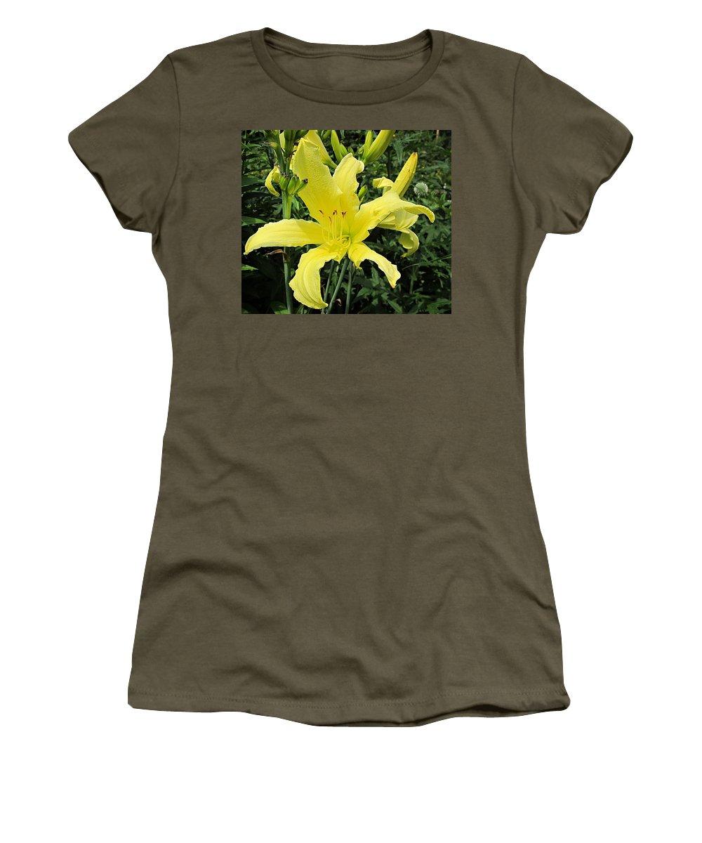 Twist Of Lemon Daylily Women's T-Shirt featuring the photograph Twist Of Lemon Daylily by MTBobbins Photography