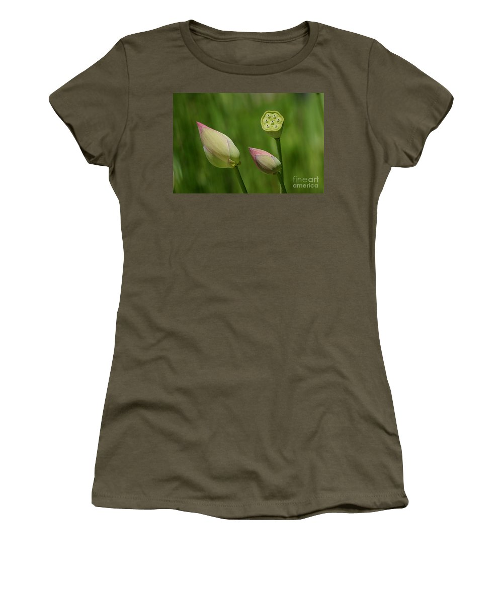 Water Lilies Women's T-Shirt (Athletic Fit) featuring the photograph Two Buds In A Shower by Living Color Photography Lorraine Lynch