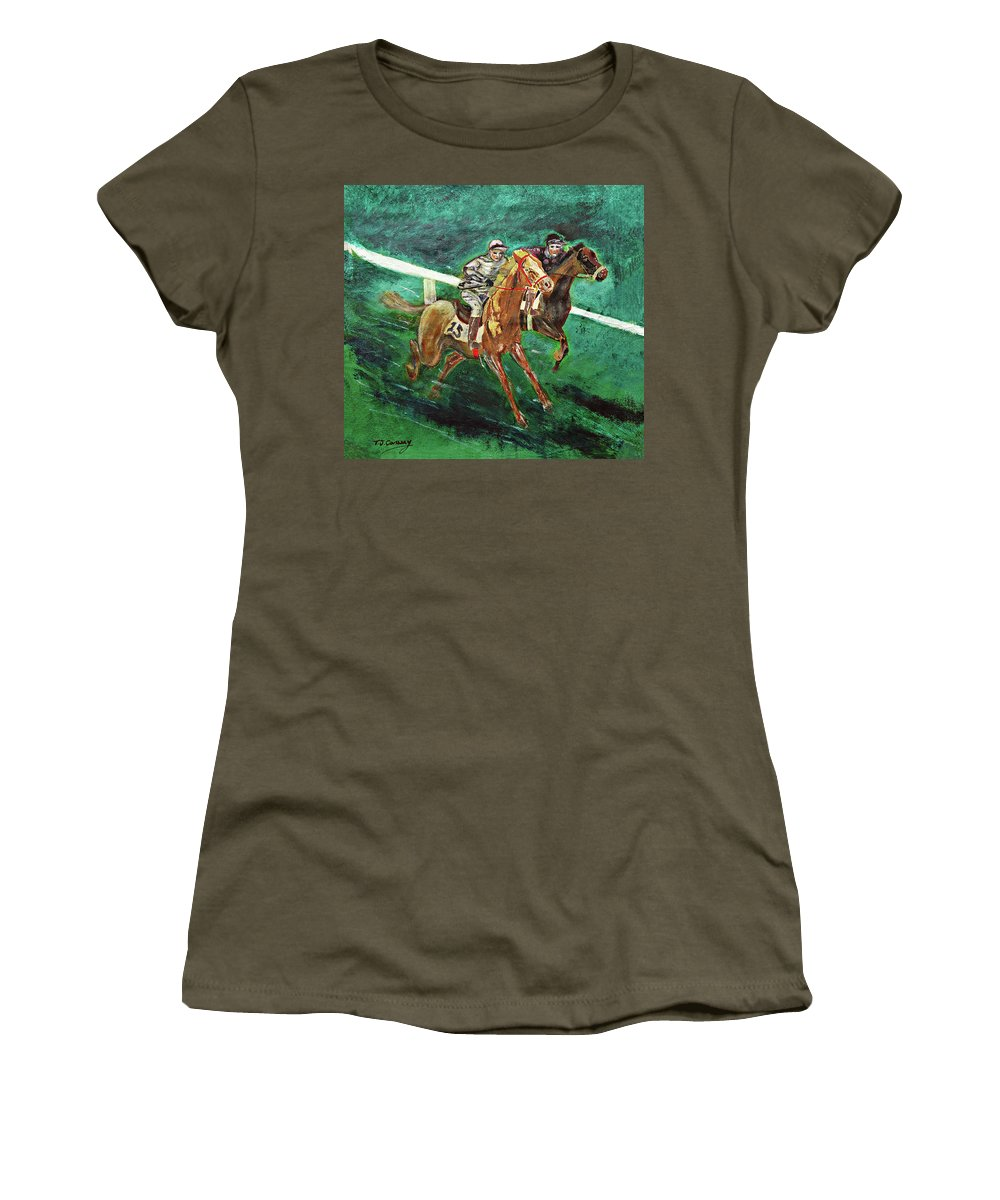 Horse Women's T-Shirt featuring the painting Two Horse Race by Tom Conway