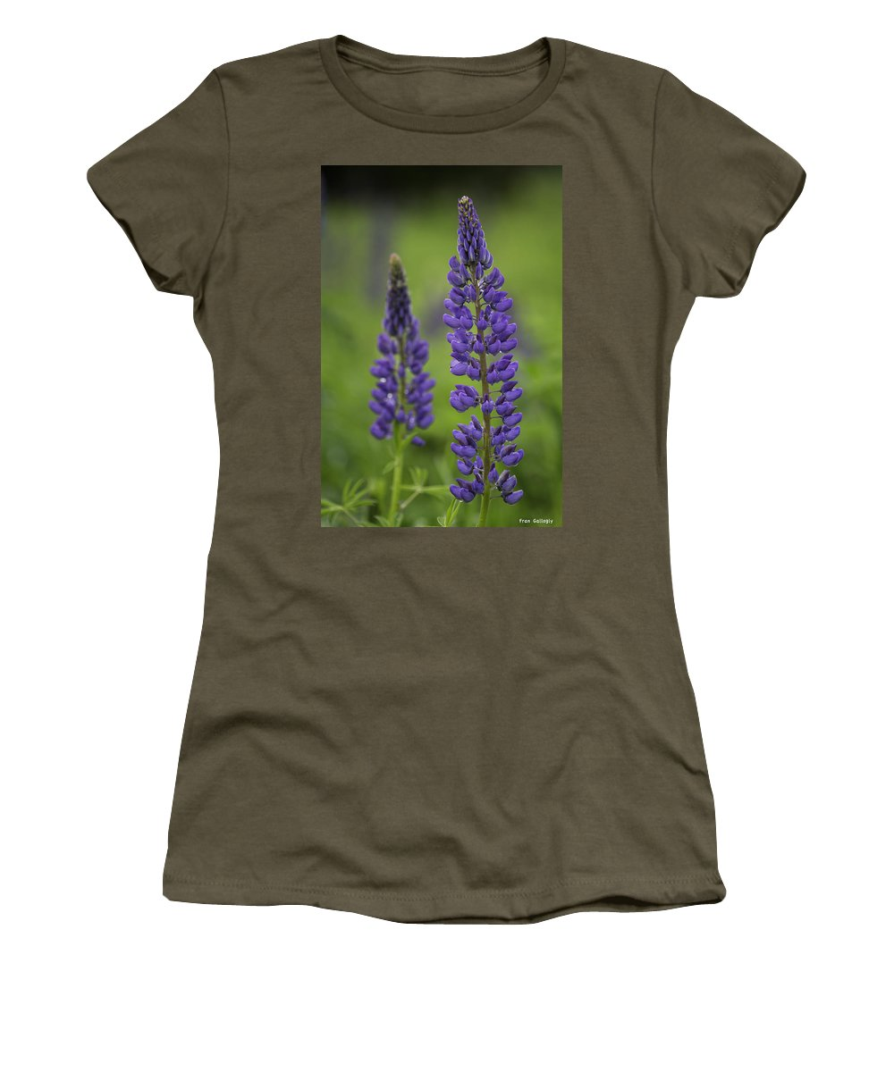 Lupine Women's T-Shirt featuring the photograph Two Lupine by Fran Gallogly