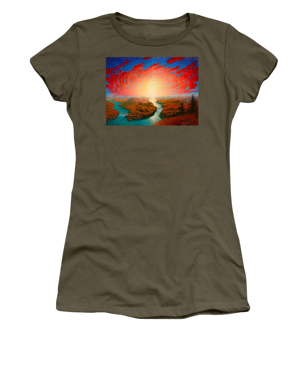 Sun Women's T-Shirt featuring the painting Two Rivers by Karma Moffett