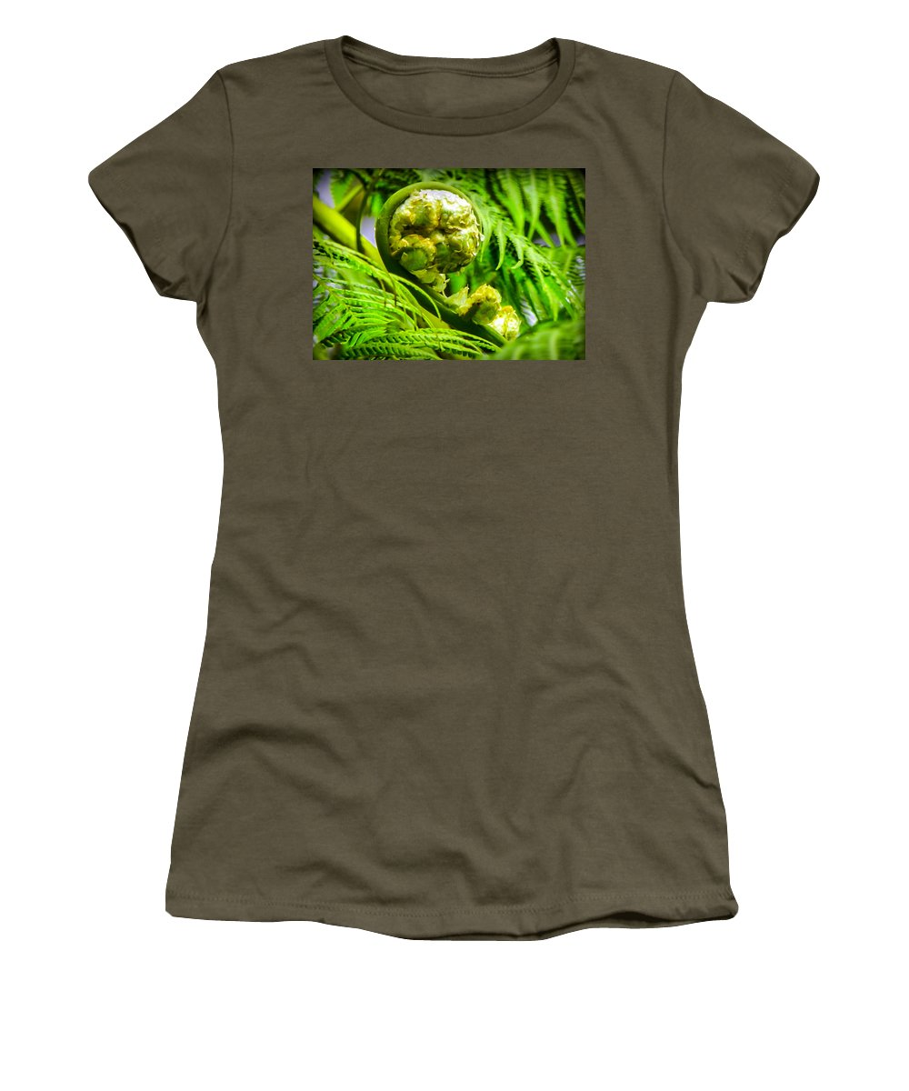 Green Women's T-Shirt featuring the photograph Unveiling Life by Karen Wiles