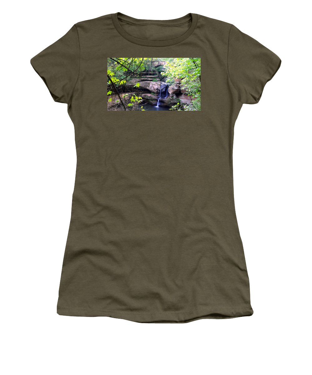 Optical Playground By Mp Ray Women's T-Shirt featuring the photograph Upper Old Mans Cave Falls by Optical Playground By MP Ray