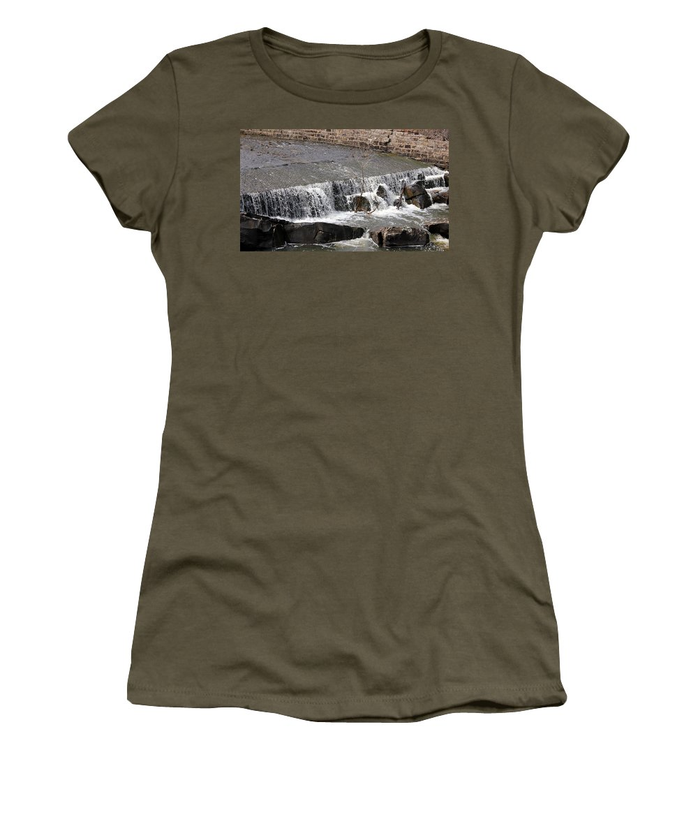 Clayton Lake Women's T-Shirt (Athletic Fit) featuring the photograph Upper Spillway by Jackie Austin