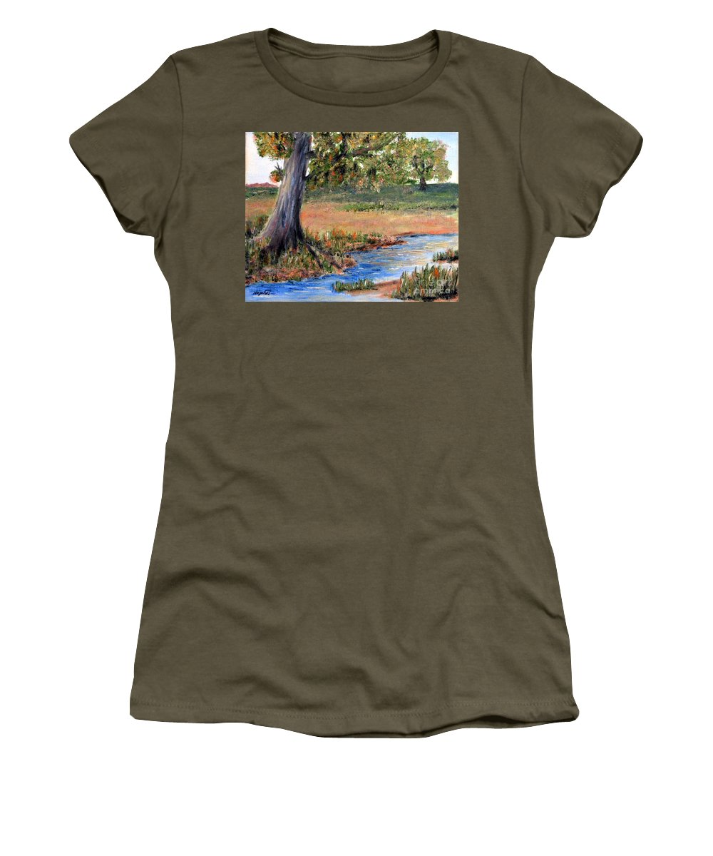 Oil Painting Women's T-Shirt featuring the painting Upper Valley by Barney Napolske