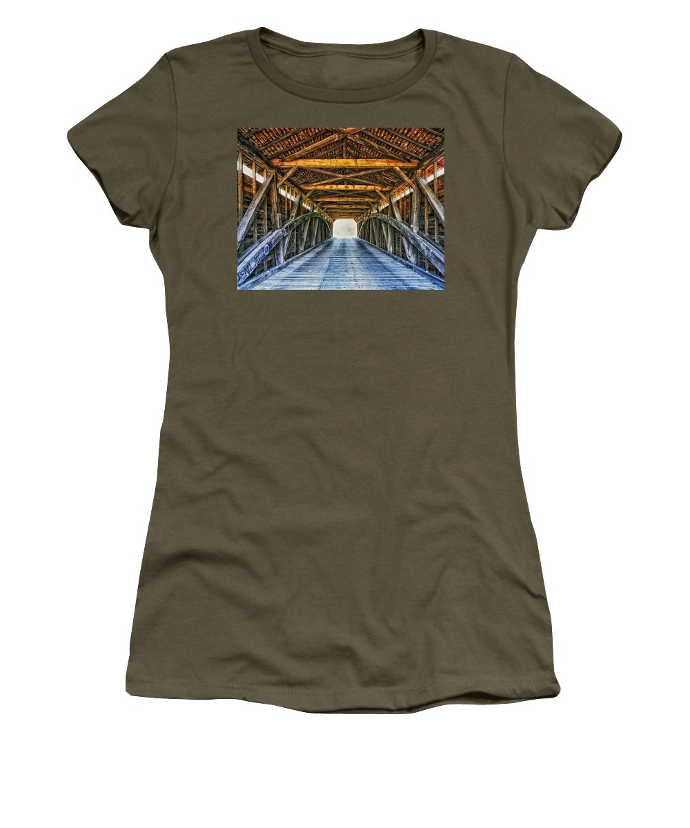 Utica Mills Women's T-Shirt featuring the photograph Utica Mills Covered Bridge by Mountain Dreams