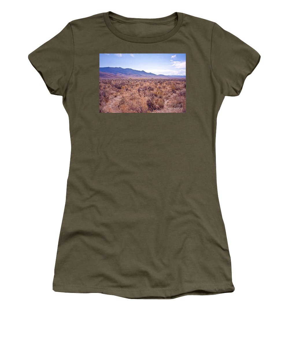 Desert Women's T-Shirt featuring the photograph Vast Desolate And Silent - Lyon Nevada by John Waclo
