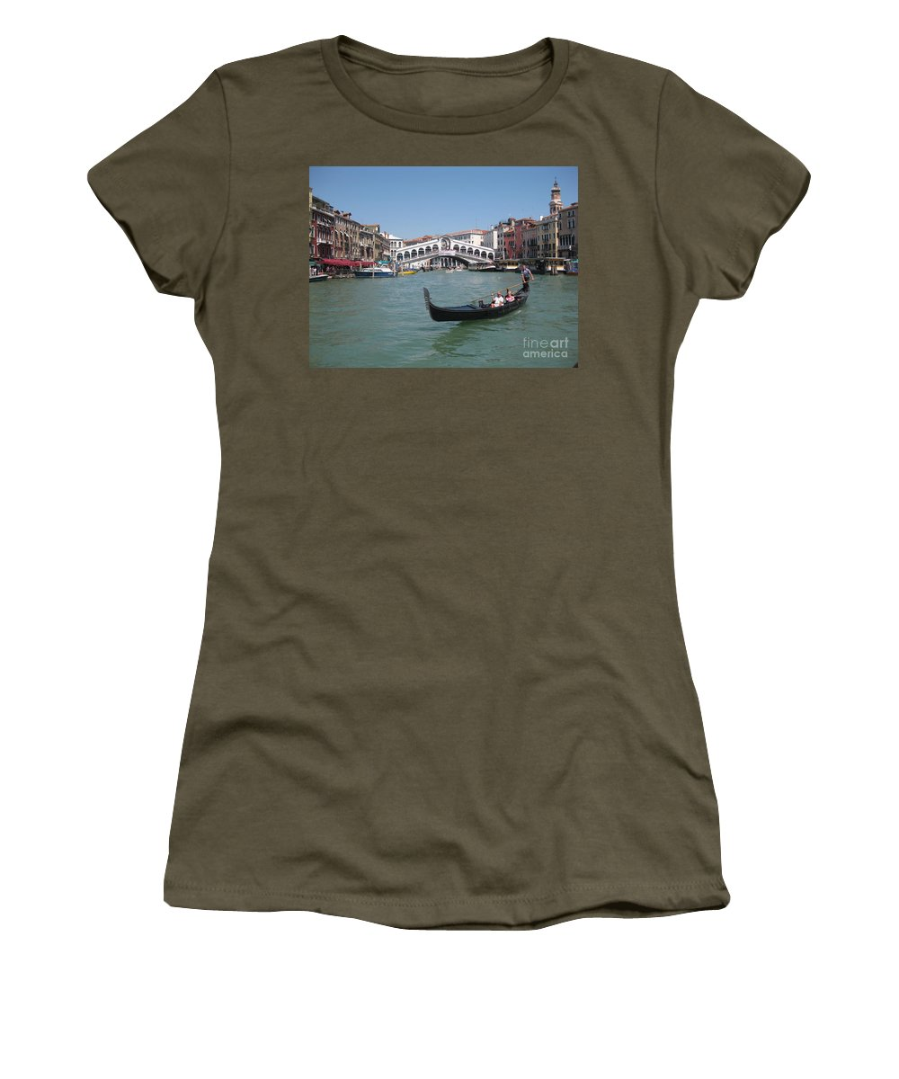 Venice Gondolier Women's T-Shirt (Athletic Fit) featuring the photograph Venice Gondolier by John Malone