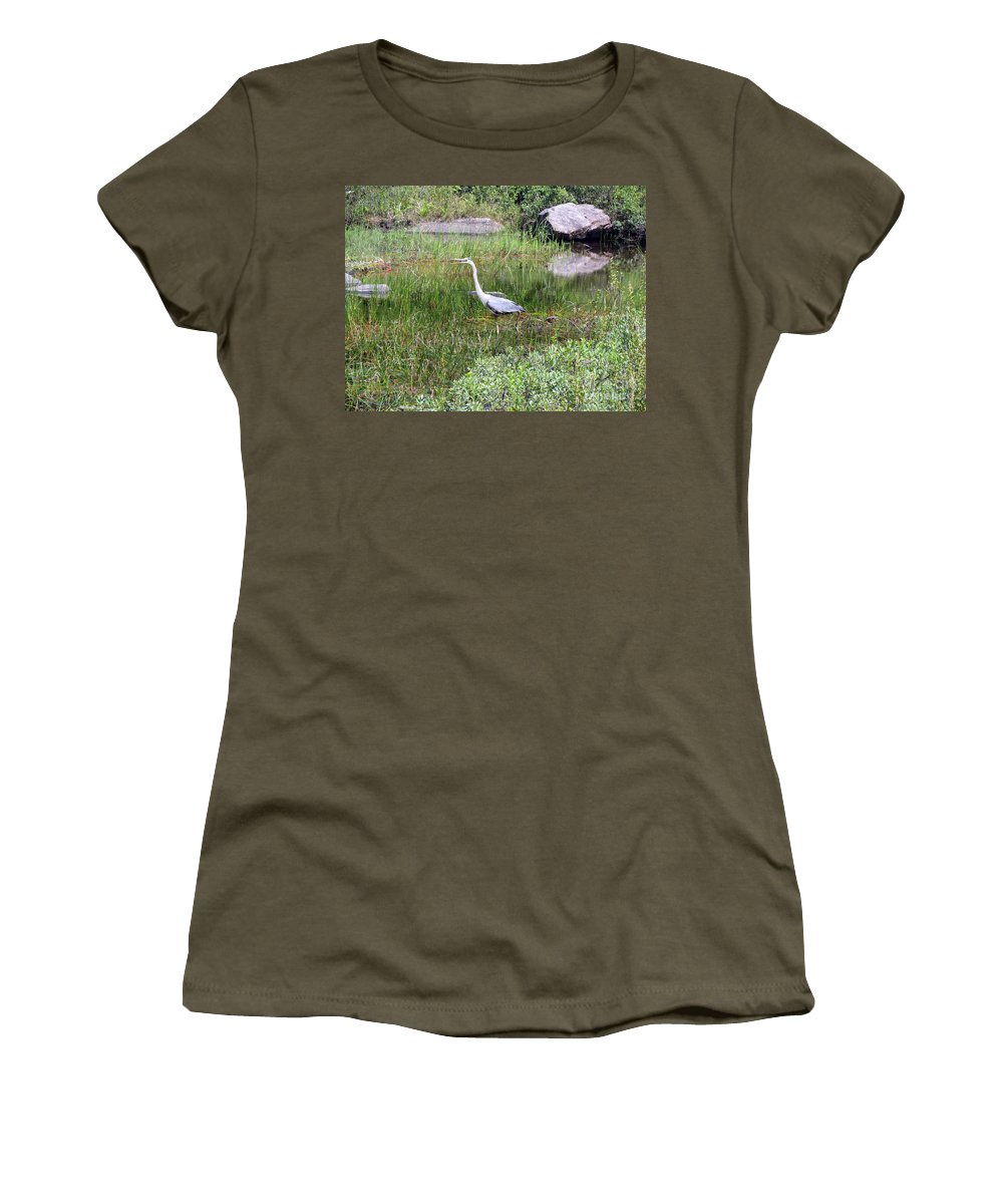 Blue Heron Women's T-Shirt featuring the photograph Very Hungry Blue Heron by Elizabeth Dow