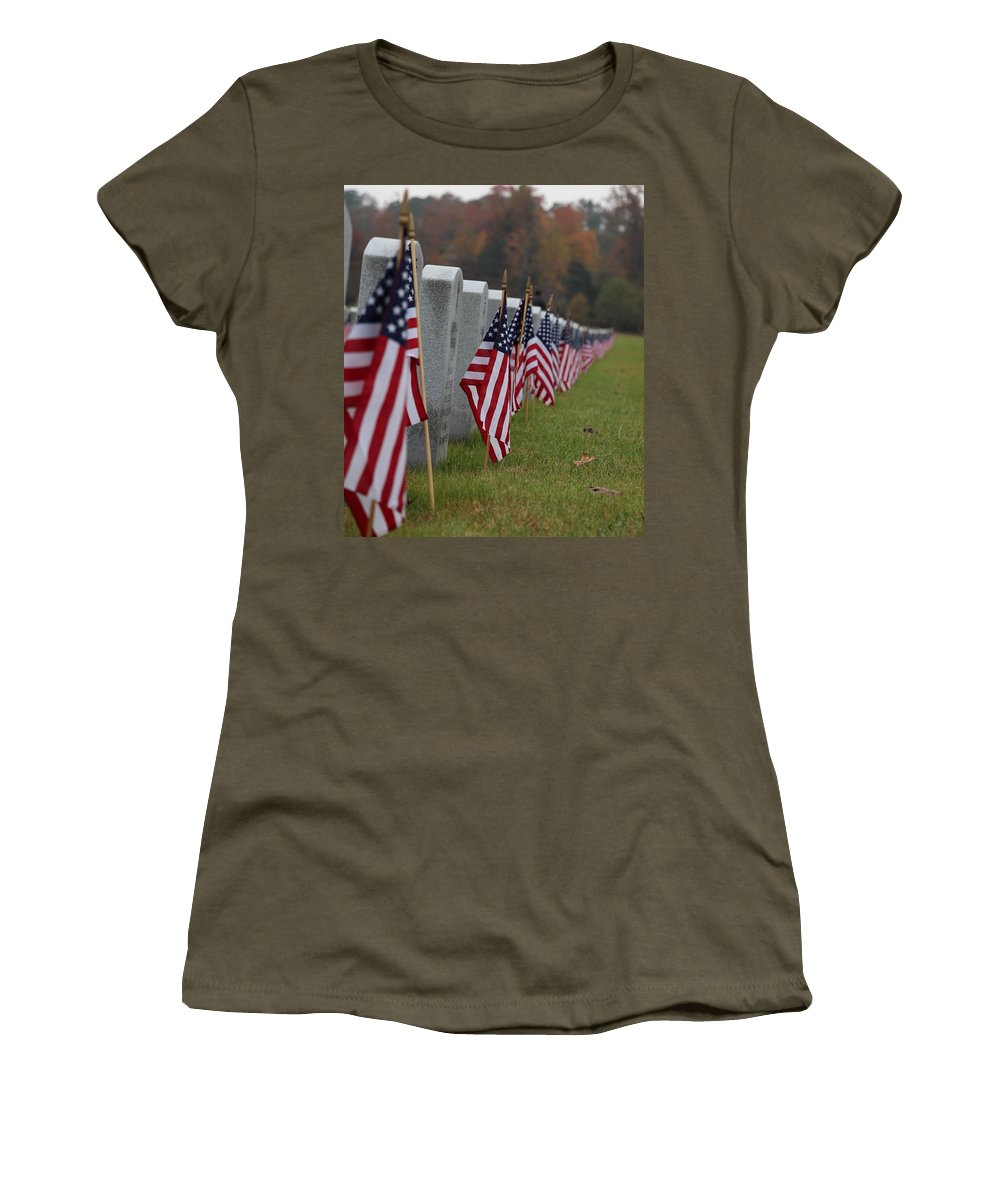 Veteran's Day Women's T-Shirt (Athletic Fit) featuring the photograph Veterans Day by Shannon Louder