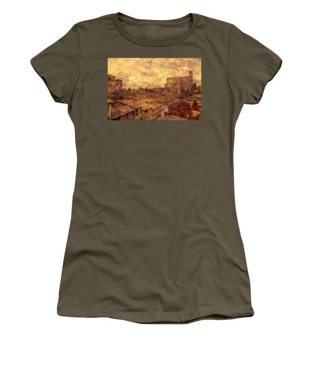 Siena Women's T-Shirt featuring the photograph View Over Siena And San Domenico by Greg Matchick