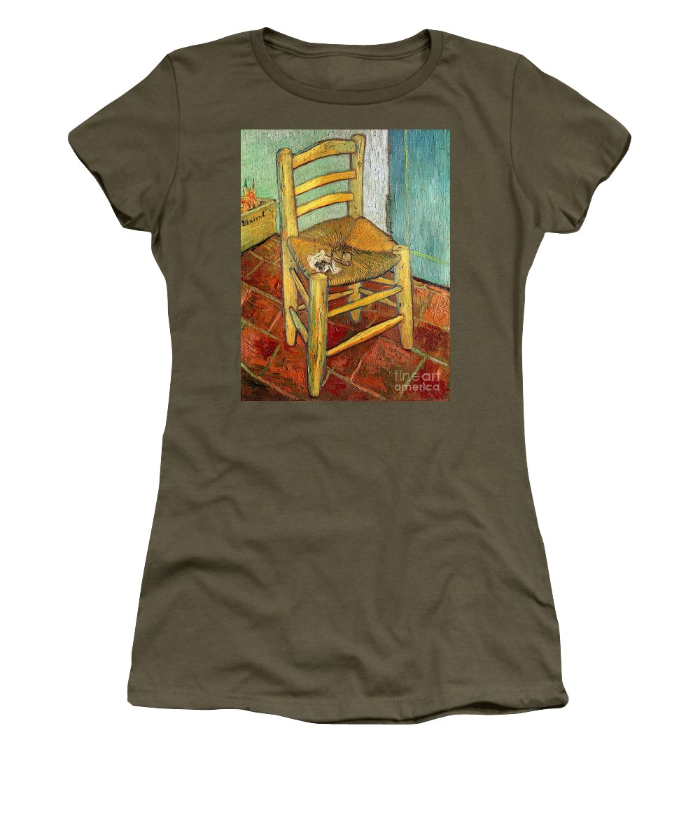 Impressionist Women's T-Shirt (Athletic Fit) featuring the painting Vincent's Chair 1888 by Vincent van Gogh