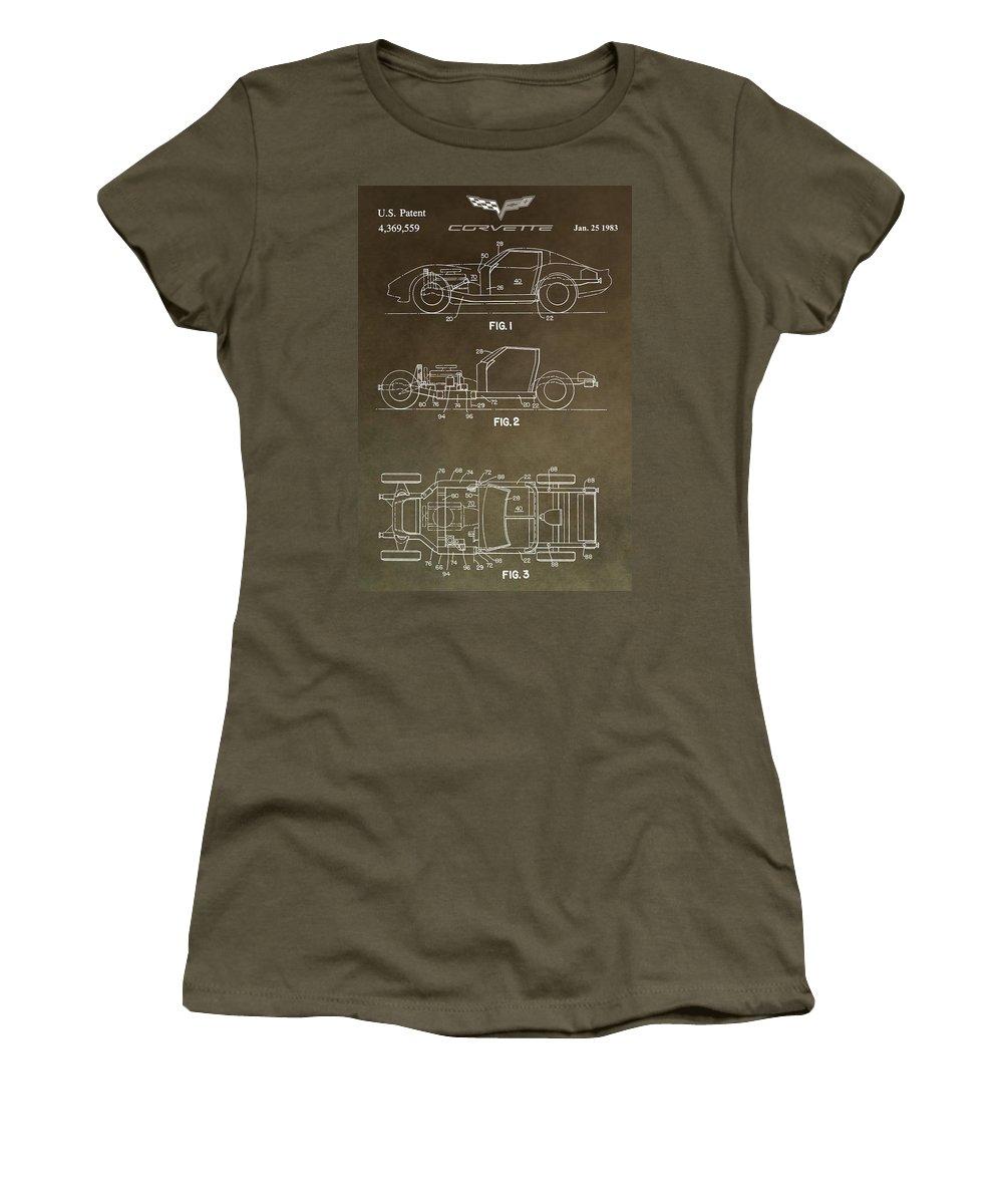 Corvette Patent Women's T-Shirt featuring the digital art Vintage Corvette Patent by Dan Sproul