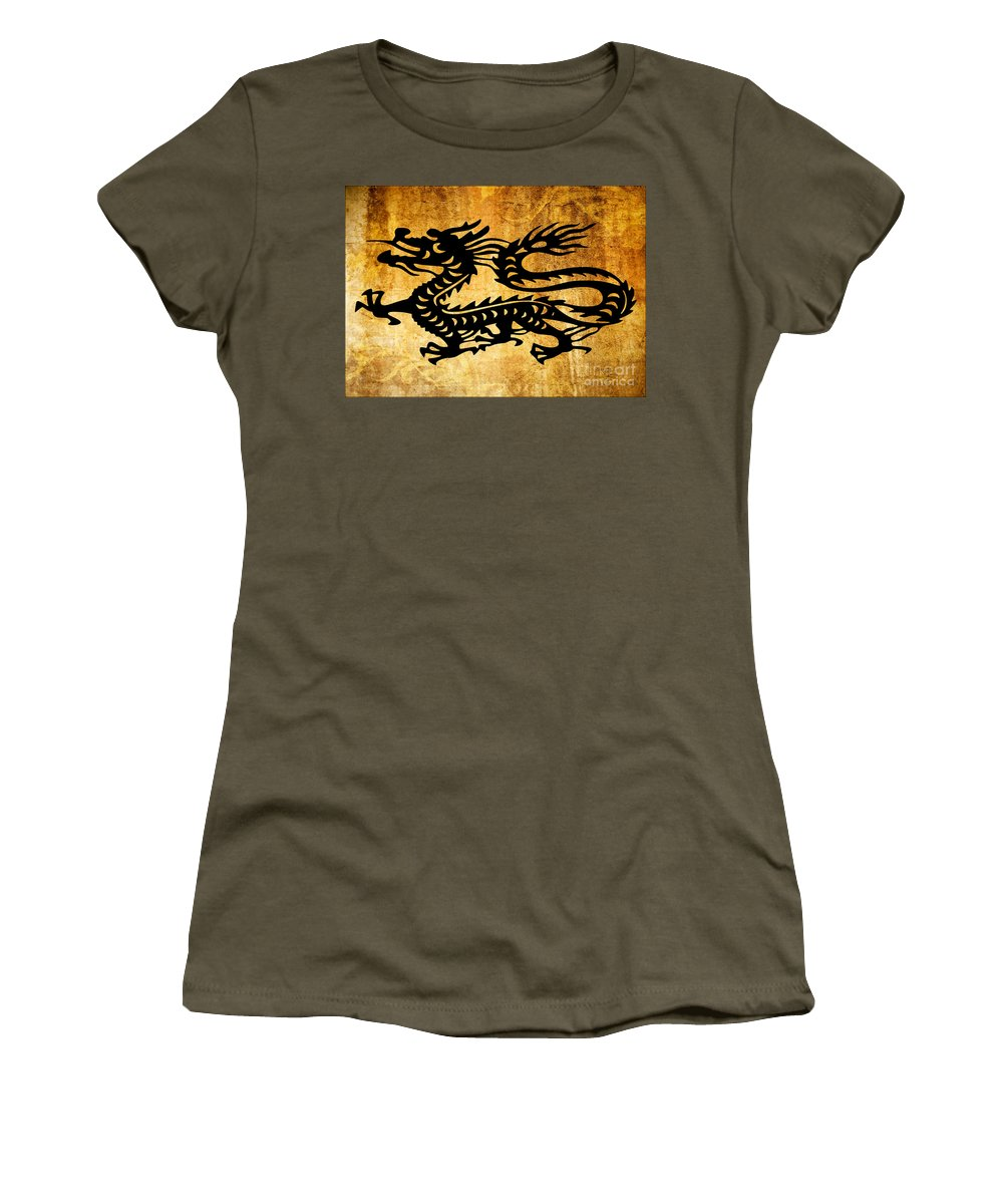 Dragon Women's T-Shirt (Athletic Fit) featuring the painting Vintage Dragon by Roz Abellera