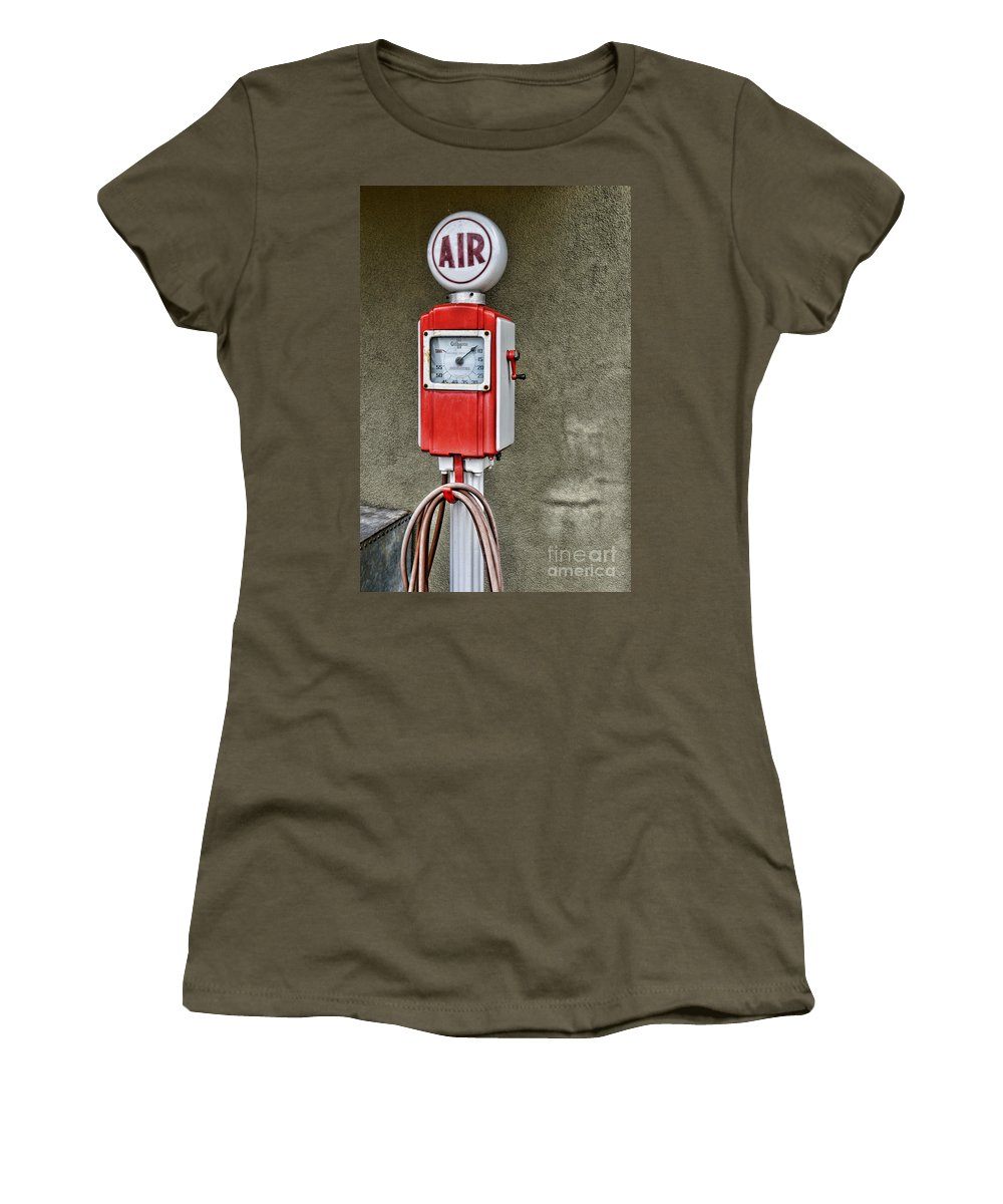 Paul Ward Women's T-Shirt featuring the photograph Vintage Gas Station Air Pump 2 by Paul Ward