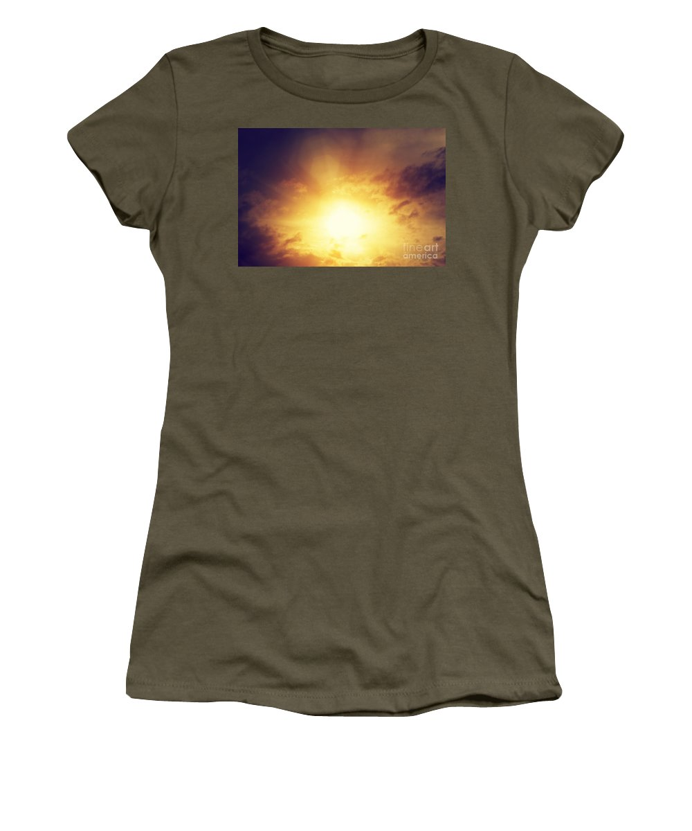 Sun Women's T-Shirt featuring the photograph Vintage Image Of Sunset Sky With Dark Dramatic Clouds by Michal Bednarek