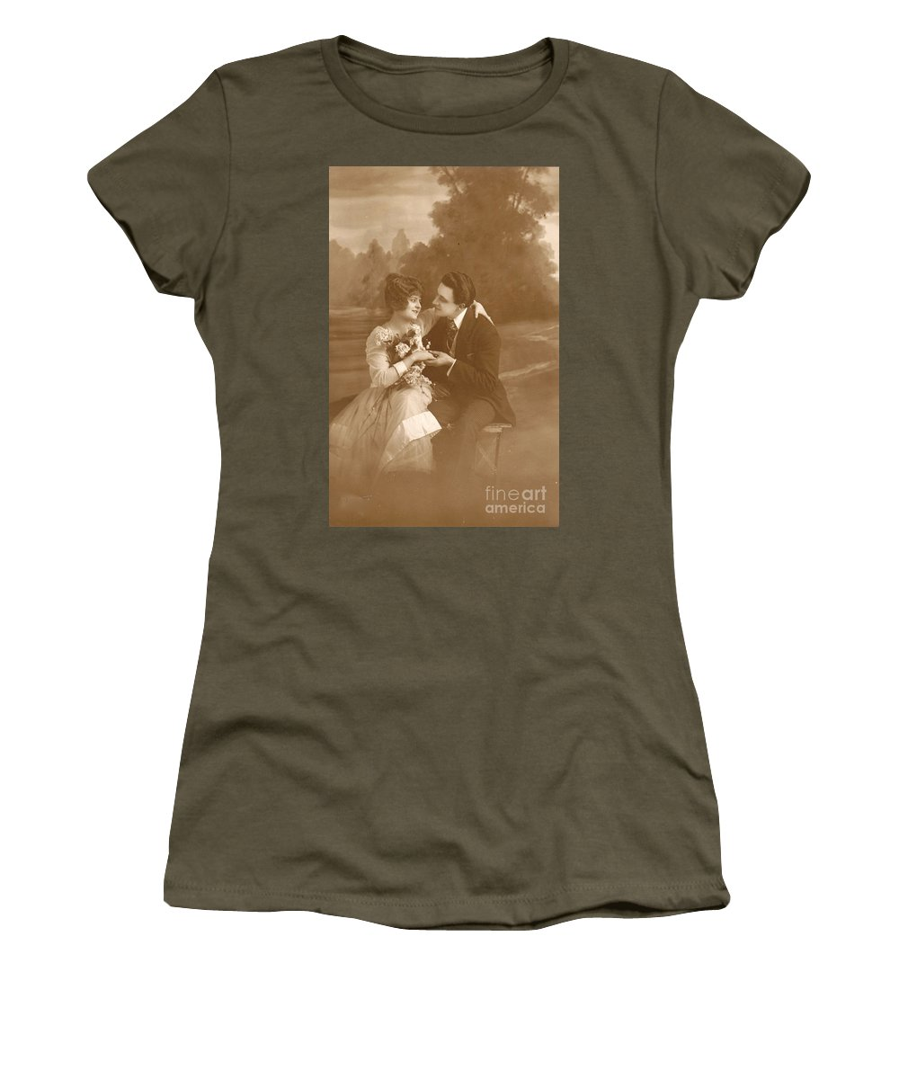 Vintage Lovers Women's T-Shirt (Athletic Fit) featuring the photograph Vintage Lovers by Luther Fine Art