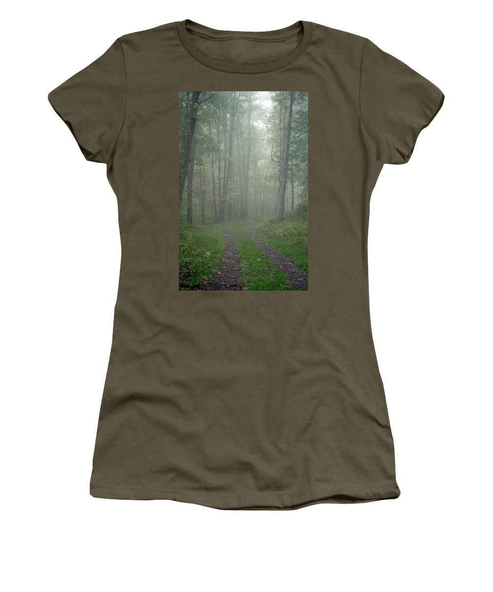 Shenandoah National Park Women's T-Shirt (Athletic Fit) featuring the photograph Virginia - Shenandoah National Park - Road Not Taken by Pamela Critchlow