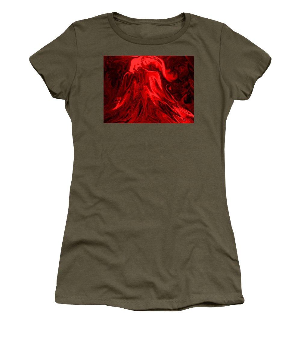Volcano Women's T-Shirt featuring the digital art Red Volcanic Dreams by Mechala Matthews