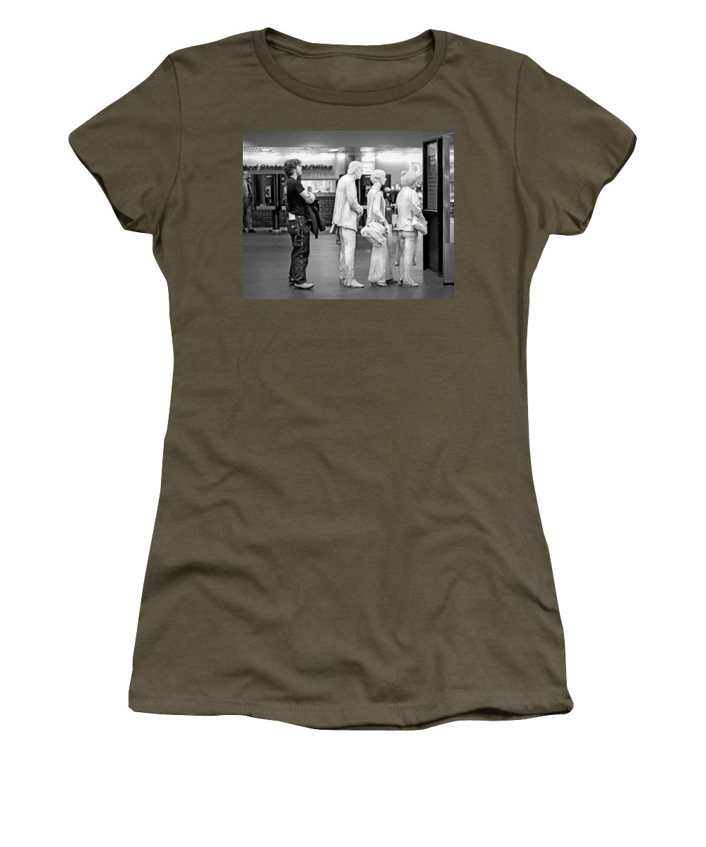 Grand Central Terminal Women's T-Shirt featuring the photograph Waiting In Line At Grand Central Terminal 1 - Black And White by Gary Heller
