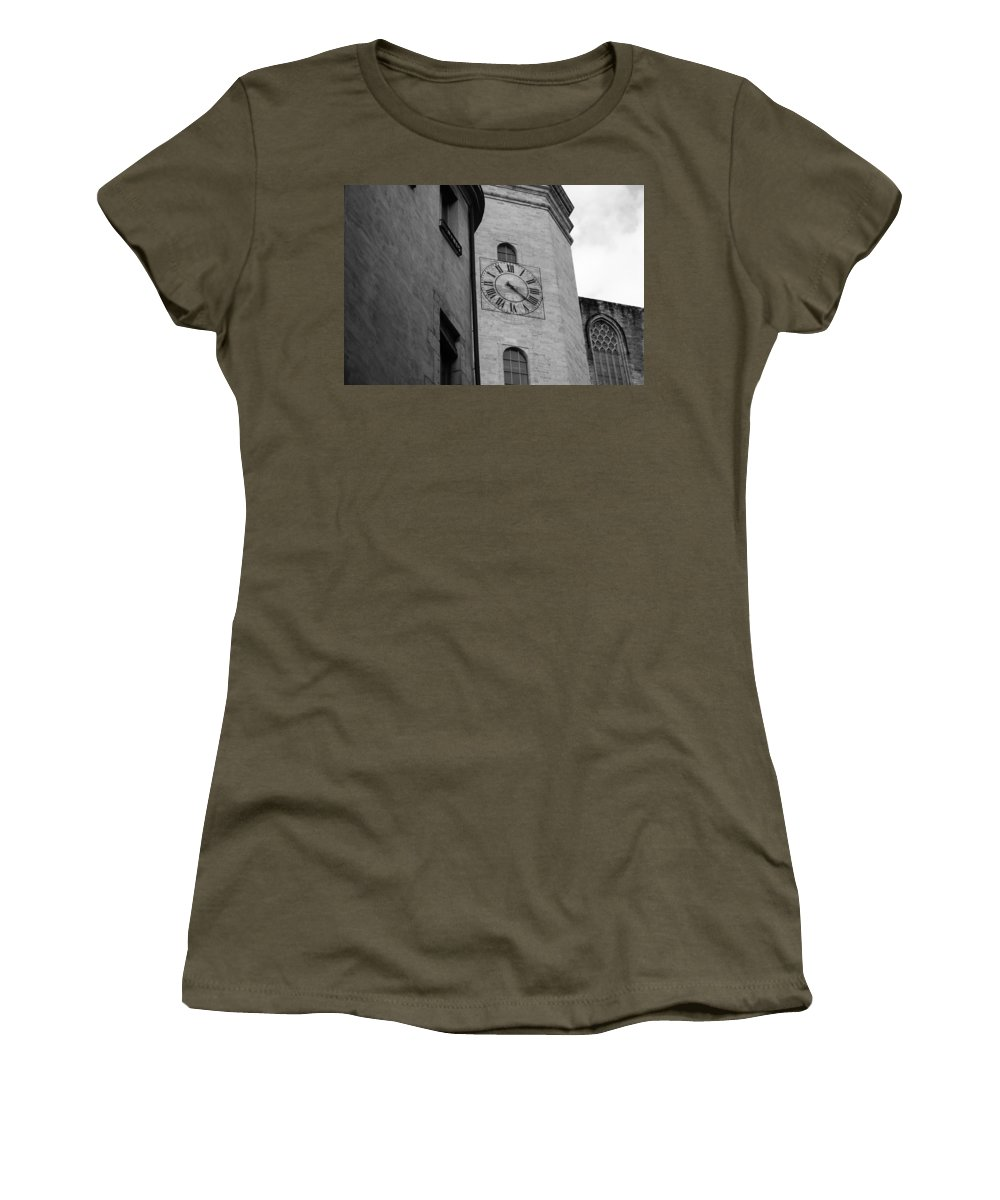 Church Clock Women's T-Shirt featuring the photograph Waiting On You by Mair Hunt