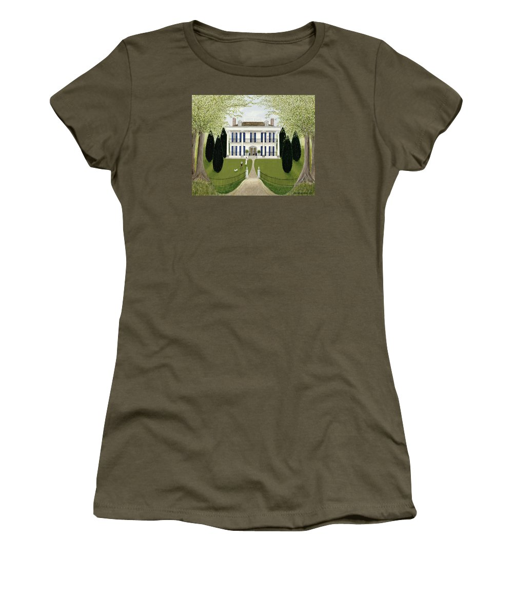 Contemporary Women's T-Shirt featuring the painting Walk In The Park by Mark Baring
