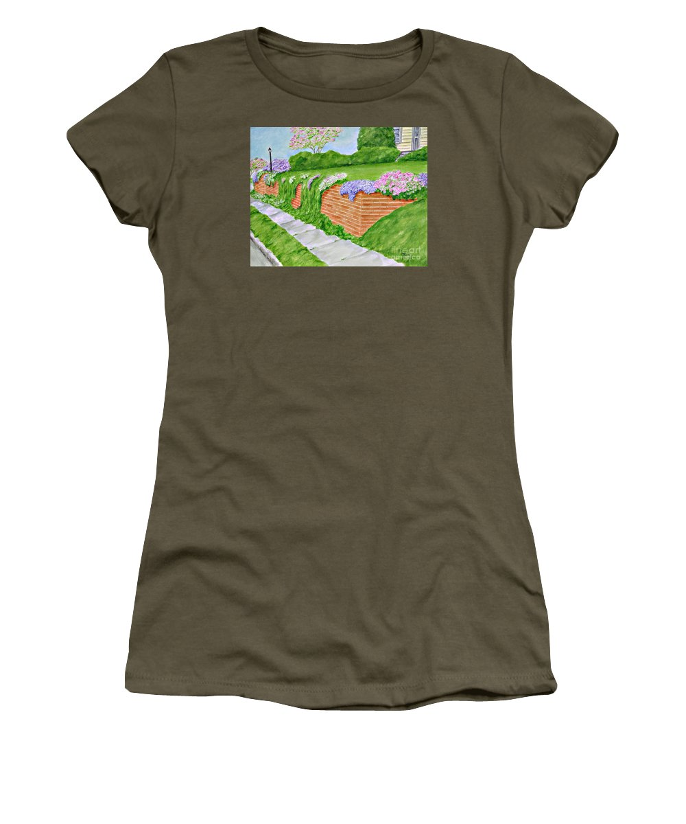 Landscape Women's T-Shirt (Athletic Fit) featuring the painting Wall Of Flowers by Regan J Smith