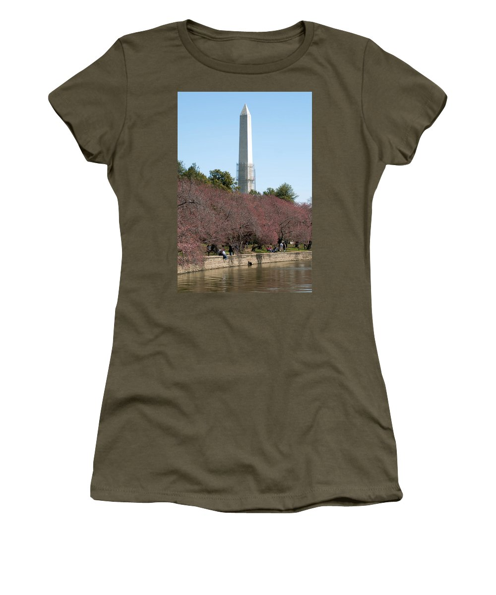 View Women's T-Shirt featuring the photograph Washington Monument Reflected In Tidal Basin And Surrounded By P by Alex Grichenko