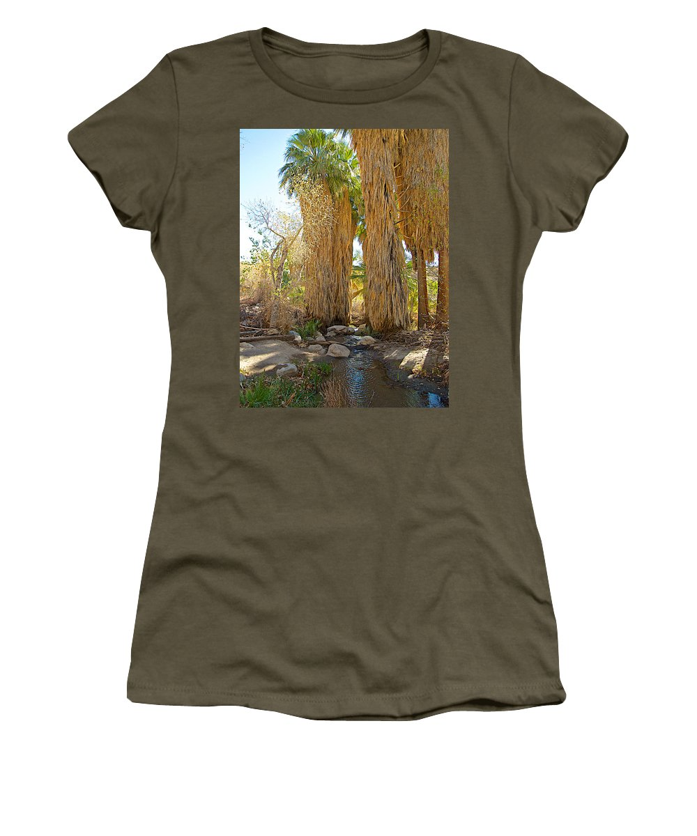 Washingtonian Fan Palms With Large Skirts In Andreas Canyon In Indian Canyons Women's T-Shirt featuring the photograph Washingtonian Fan Palms With Large Skirts In Andreas Canyon-ca by Ruth Hager