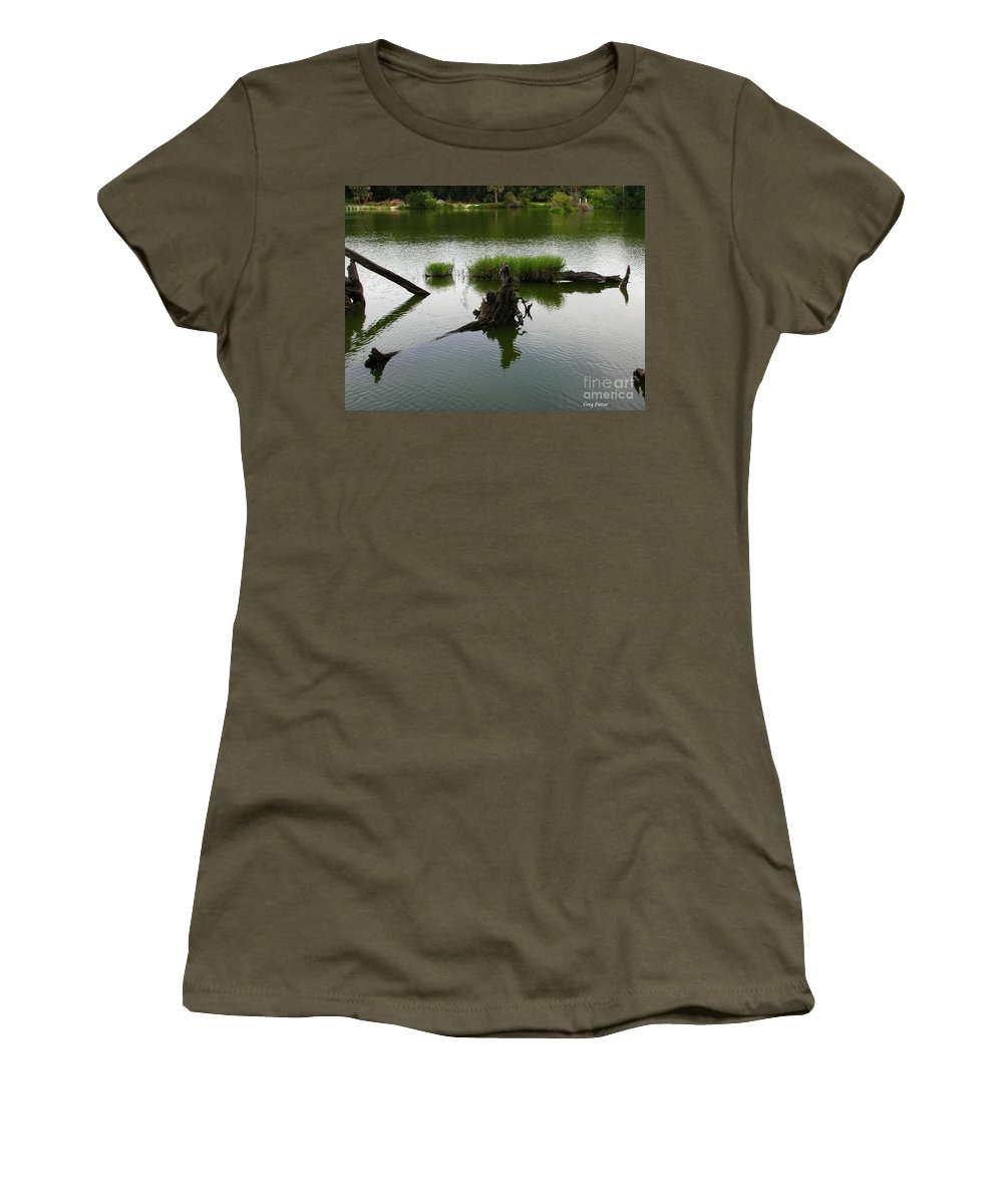 Art For The Wall...patzer Photography Women's T-Shirt (Athletic Fit) featuring the photograph Water Art by Greg Patzer