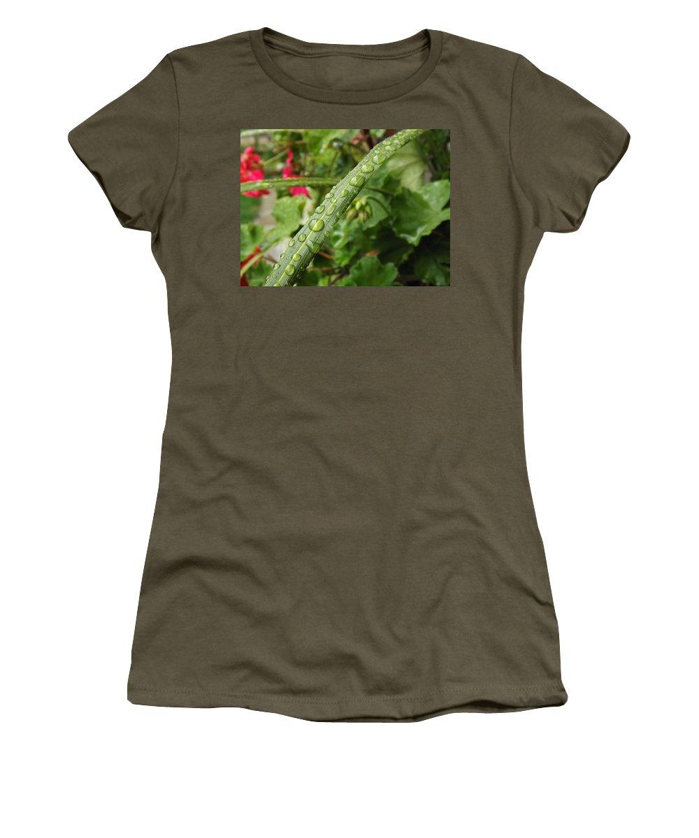 Rain Women's T-Shirt featuring the photograph Water Drops Marching by Lingfai Leung