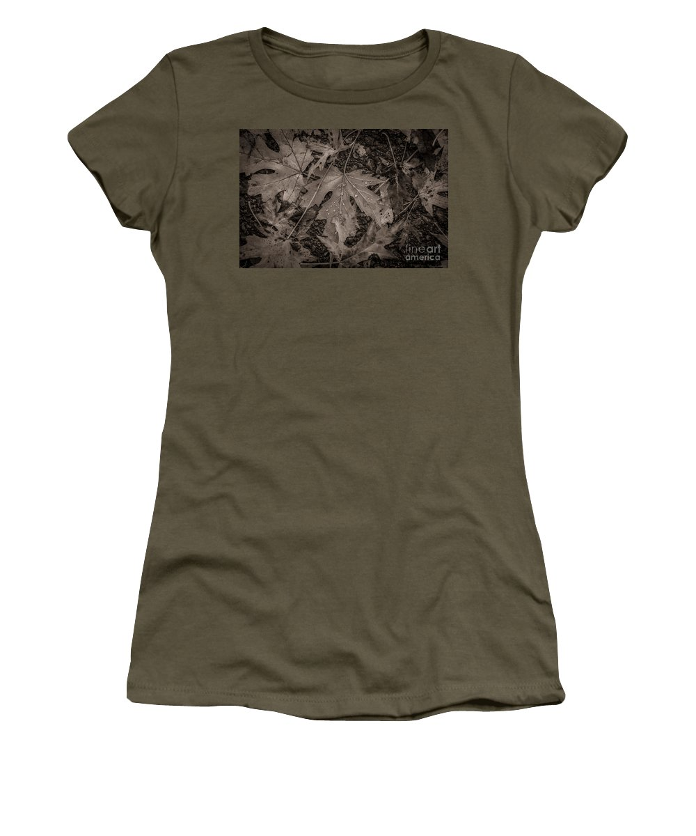 Leaves Women's T-Shirt featuring the photograph Water Drops On Fallen Leaves by M Dale