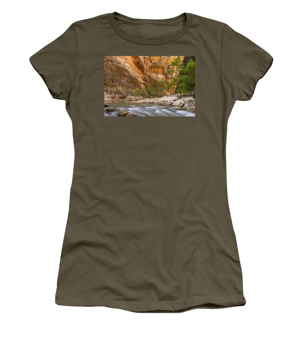 Zion Women's T-Shirt featuring the photograph Water In The Narrows by Bryan Keil