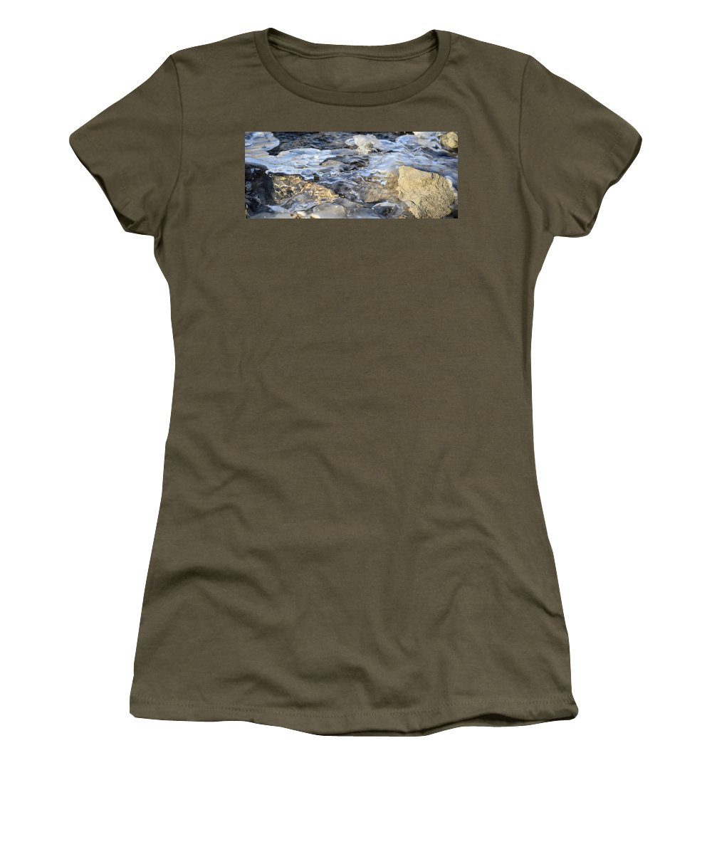 Water Women's T-Shirt featuring the photograph Water Under Ice by Bonfire Photography