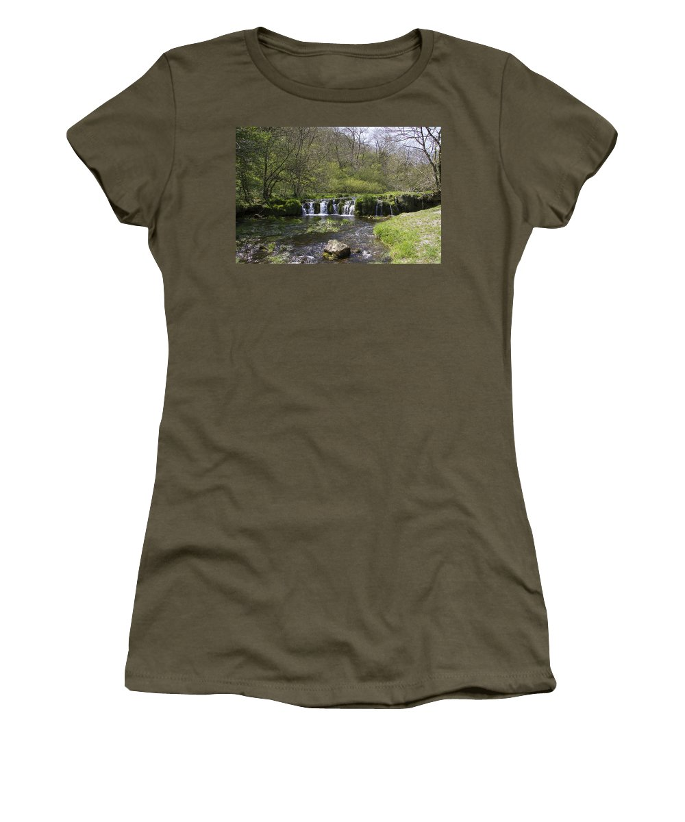 Lathkill Dale Women's T-Shirt featuring the photograph Waterfall Lathkill Dale Derbyshire by Bob Kemp