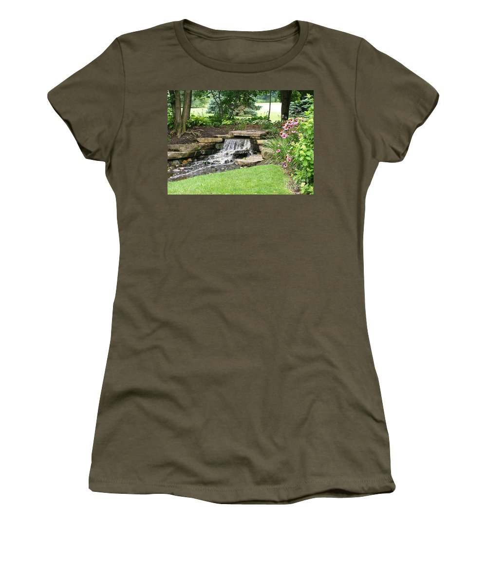 Water Women's T-Shirt featuring the photograph Waterfall With Coneflowers by Laurie Eve Loftin