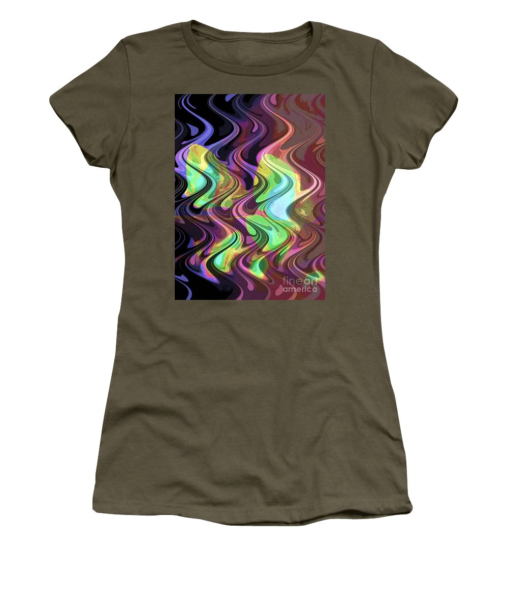 Digital Art Abstract Women's T-Shirt (Athletic Fit) featuring the digital art Wavy by Yael VanGruber