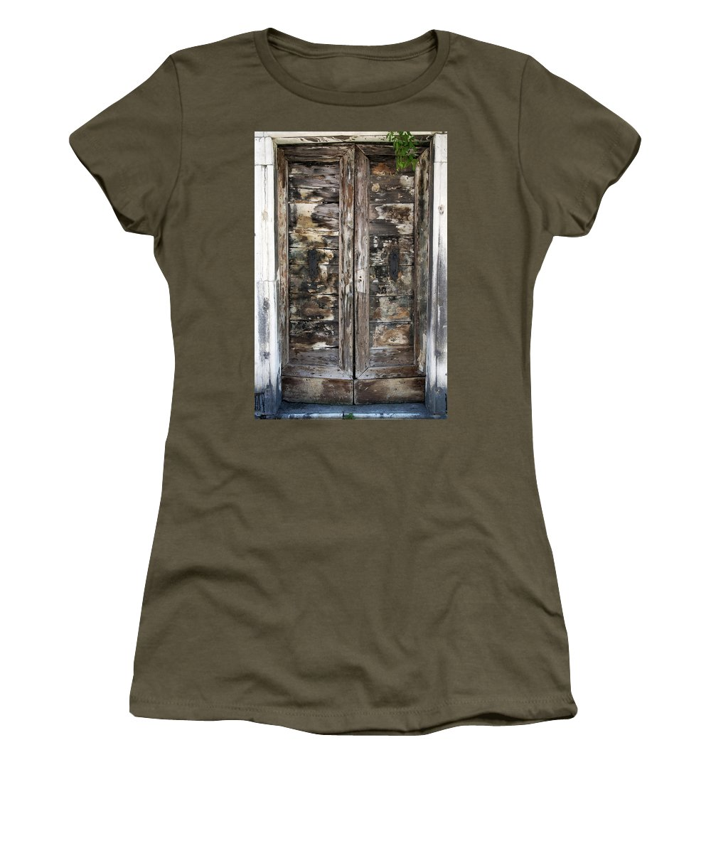 Vertical Women's T-Shirt featuring the photograph Weathered Wood Door Venice Italy by Sally Rockefeller