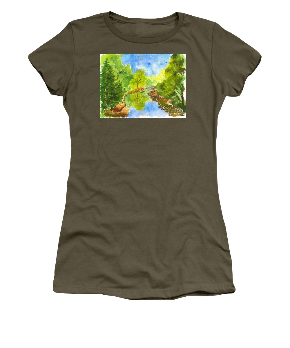Weber River Women's T-Shirt (Athletic Fit) featuring the painting Weber River Reflection by Walt Brodis