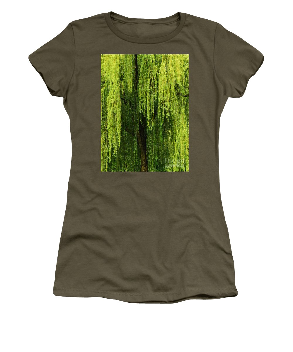 Weeping Willow Women's T-Shirt featuring the photograph Weeping Willow Tree Enchantment by Carol F Austin