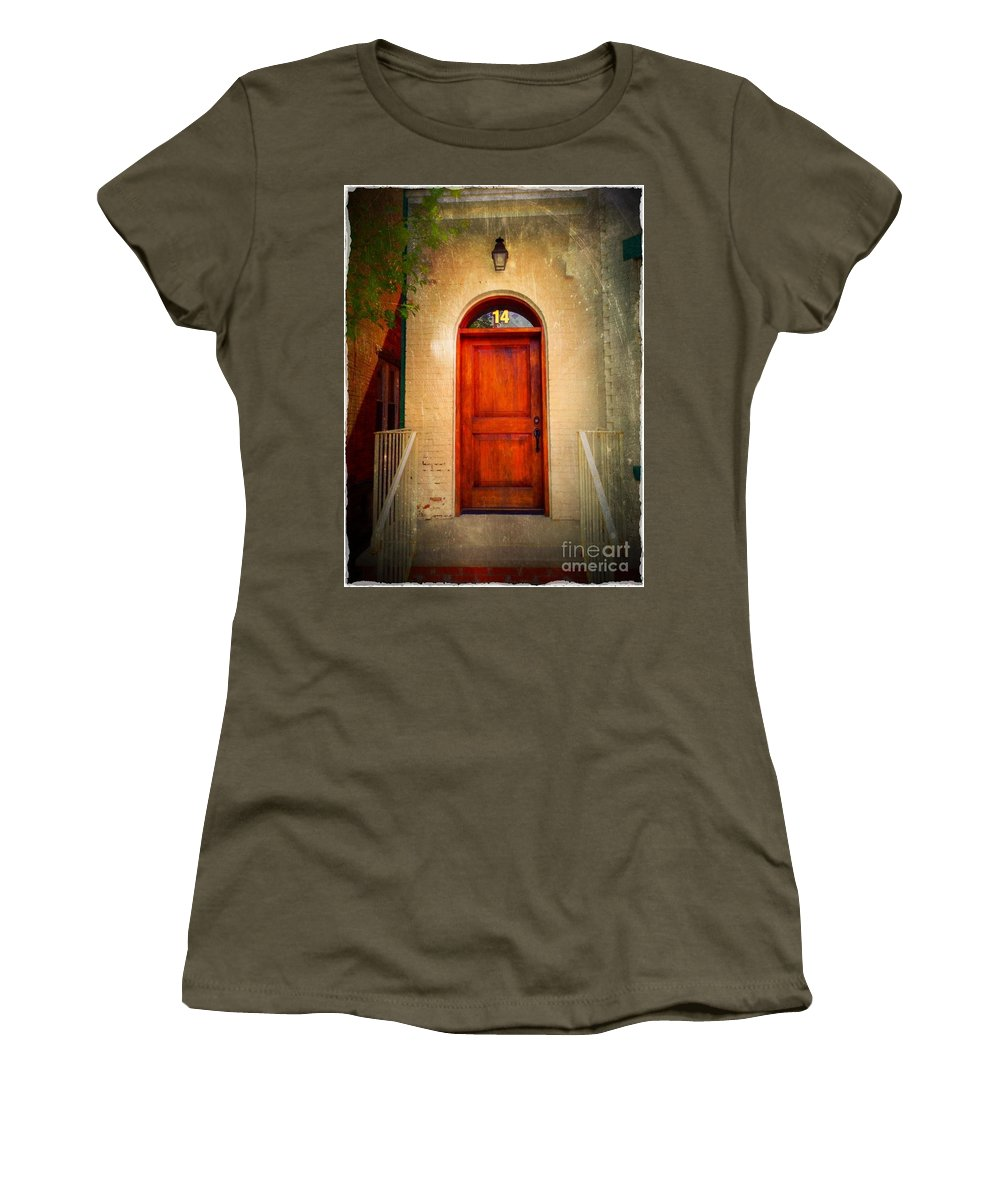 Arch Door Women's T-Shirt featuring the photograph Welcome Home by Becky Lupe