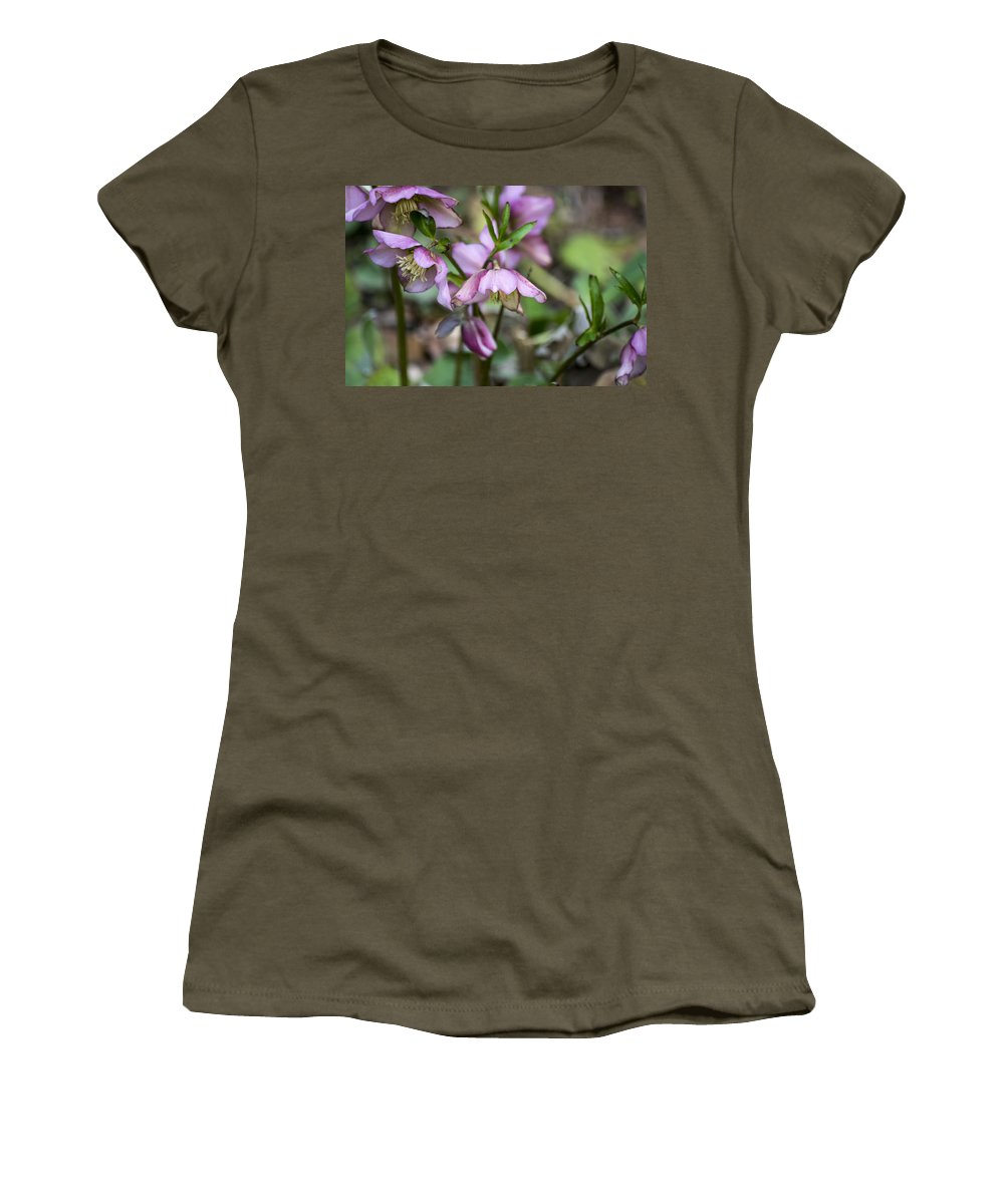 Pink Women's T-Shirt (Athletic Fit) featuring the photograph Welcome Spring Flowers by Spikey Mouse Photography