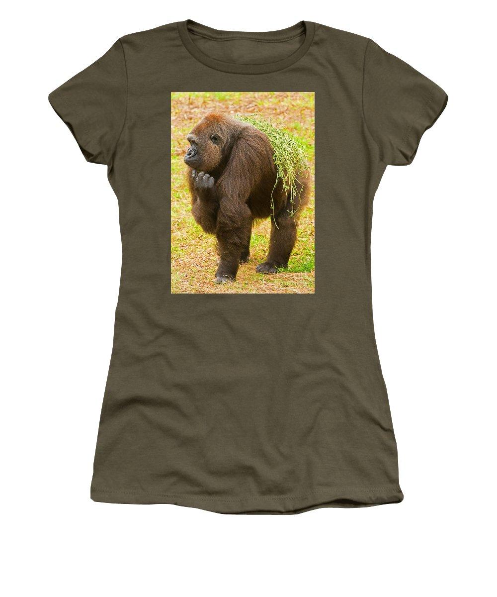 Nature Women's T-Shirt featuring the photograph Western Lowland Gorilla Female by Millard H. Sharp