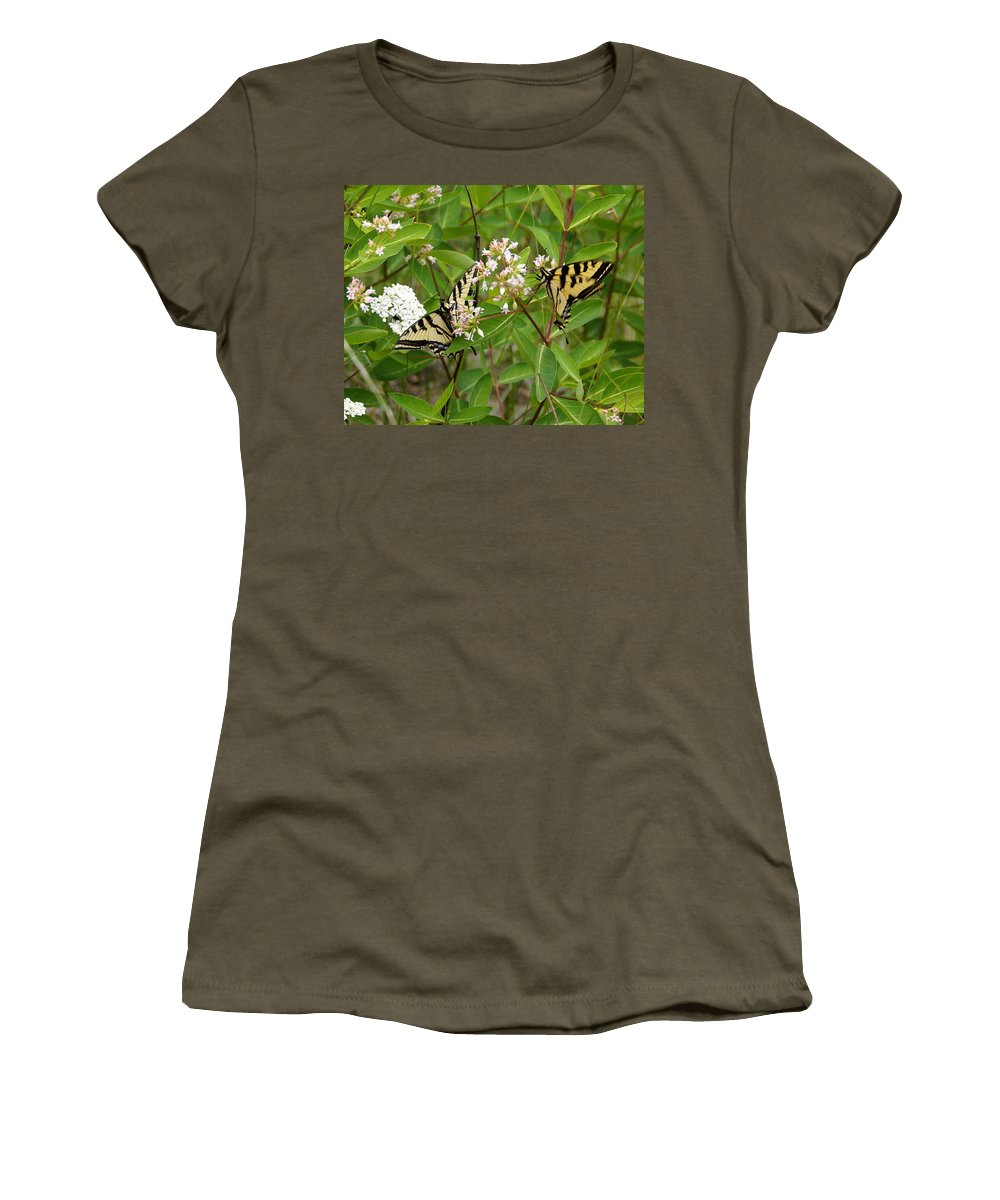 Spokane Women's T-Shirt featuring the photograph Western Tiger Swallowtail Butterflies by Ben Upham III