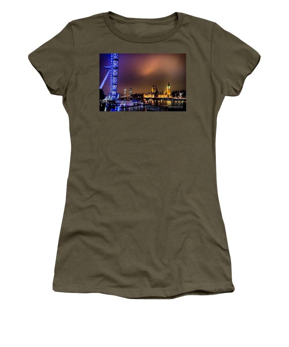 London Women's T-Shirt featuring the photograph Westminster And Eye Night Glow by Matt Malloy